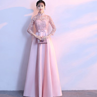 Chinese Style High Neck Robe De Soiree Cheap Long Pink Evening Dresses With 3/4 Sleeves Party Dresses Vestido De Noite Longo