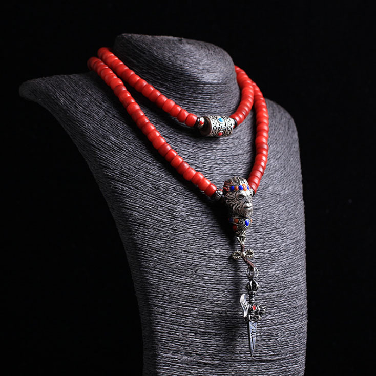 Hot Tibetan Original Design Precious Natural Blood Camel Bones Beads 108 Mala Multi Circle Monkey King Bracelet Female Jewelry