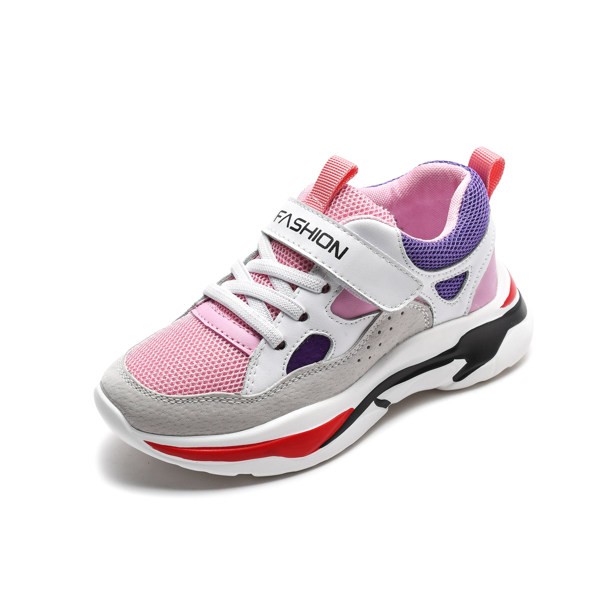 2019 Children Fashion Shoes Girls Pink Genuine Leather Sneaker Boys Black Mesh Sneaker Breathable Kid Causal Shoes Anti Slip