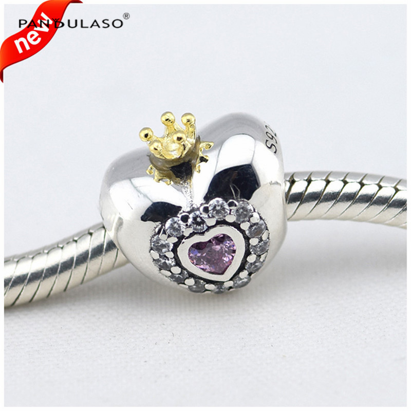 100% 925 Sterling Silver Jewelry Charms Beads Fits European Charm Bracelet & Choker  Heart with Crown Beads Women DIY Jewelry