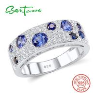 Free Shipping 925 Sterling Silver Round Blue Nano White Cubic Zirconia CZ Ring