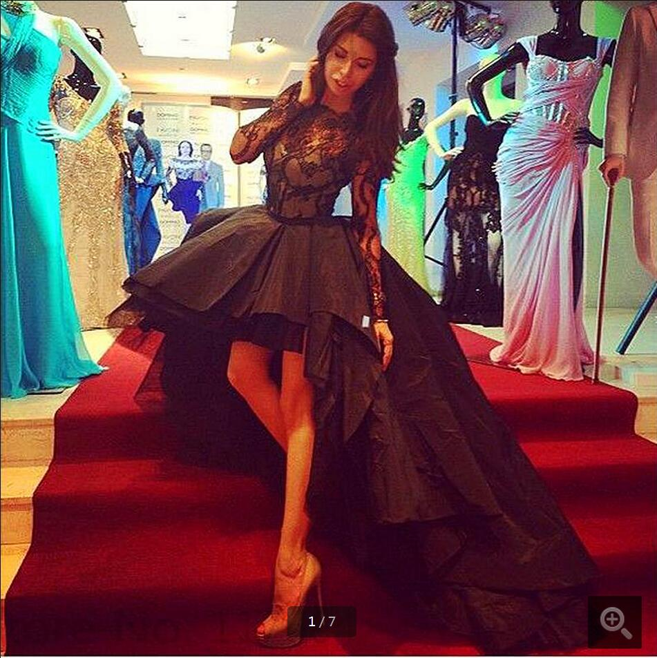 New Arrival A Line Black Lace High Low Prom Dress Long Sleeve Sexy Sheer Back Prom Gowns Free Shipping Prom Dresses