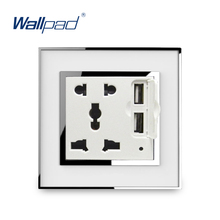 5 Pin Socket With 2 Usb Port 5V 3100mA  Wallpad Luxury Wall USB Charger Electric Power Outlet Mirror Acrylic Panel Tomada