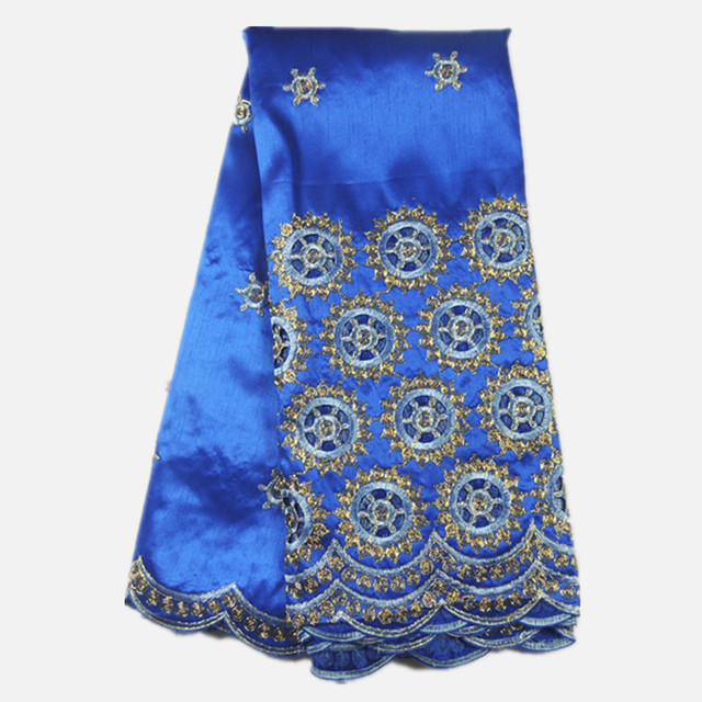Excellent party raw silk material with holes African cotton embroidery  george lace fabric with sequins for