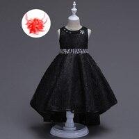 Кружевное платье с жемчужным поясом; Одежда для девочек; вечерние платья принцессы для девочек; цвет красный, бежевый, синий, черный; асиммет...