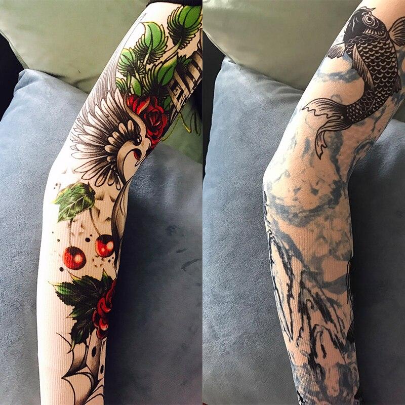 Tattoo Ice Sleeve Arm Unisex UV Protection General Outdoor Temporary Fake Tattoo Arm Sleeve Warmer Men Sleeve Hand Hole