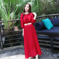 2017 Summer New Fashion Woman Ruffles Neck Long Puff Sleeve Wine Red Maxi Dress Beach Vacation