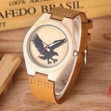 3D Eagle Dial Quartz Royal Bamboo Ebony Wood Watch