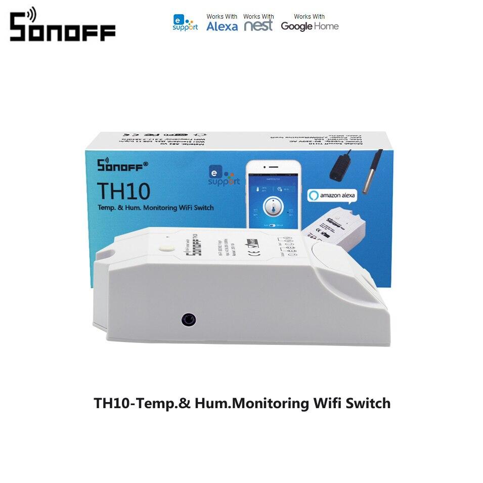 Sonoff TH10 / TH16 Wifi Smart Switch Sokongan Suhu Sensor Kelembapan Monitor Wireless Switch Smart Home Automation Modules