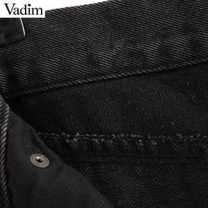 Image 5 - Vadim 女性のスタイリッシュなブラックデニムミディスカート段 faldas mujer タッセルボタンフライデザインポケット女性ソリッドシックなスカート BA606