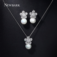 NEWBARK Simulated Pearl Jewelry Sets White Gold Plated Flower CZ Stone Romantic Pendant Necklace Earring Set Engagement Bijoux