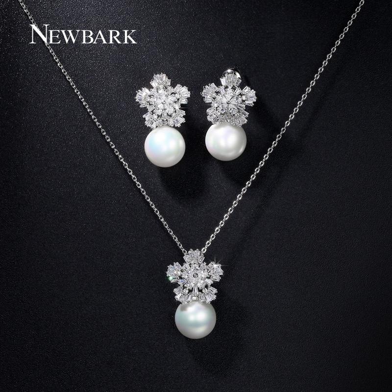 Newbark simulado perla sistemas de la joyería de plata flor color de piedra de l
