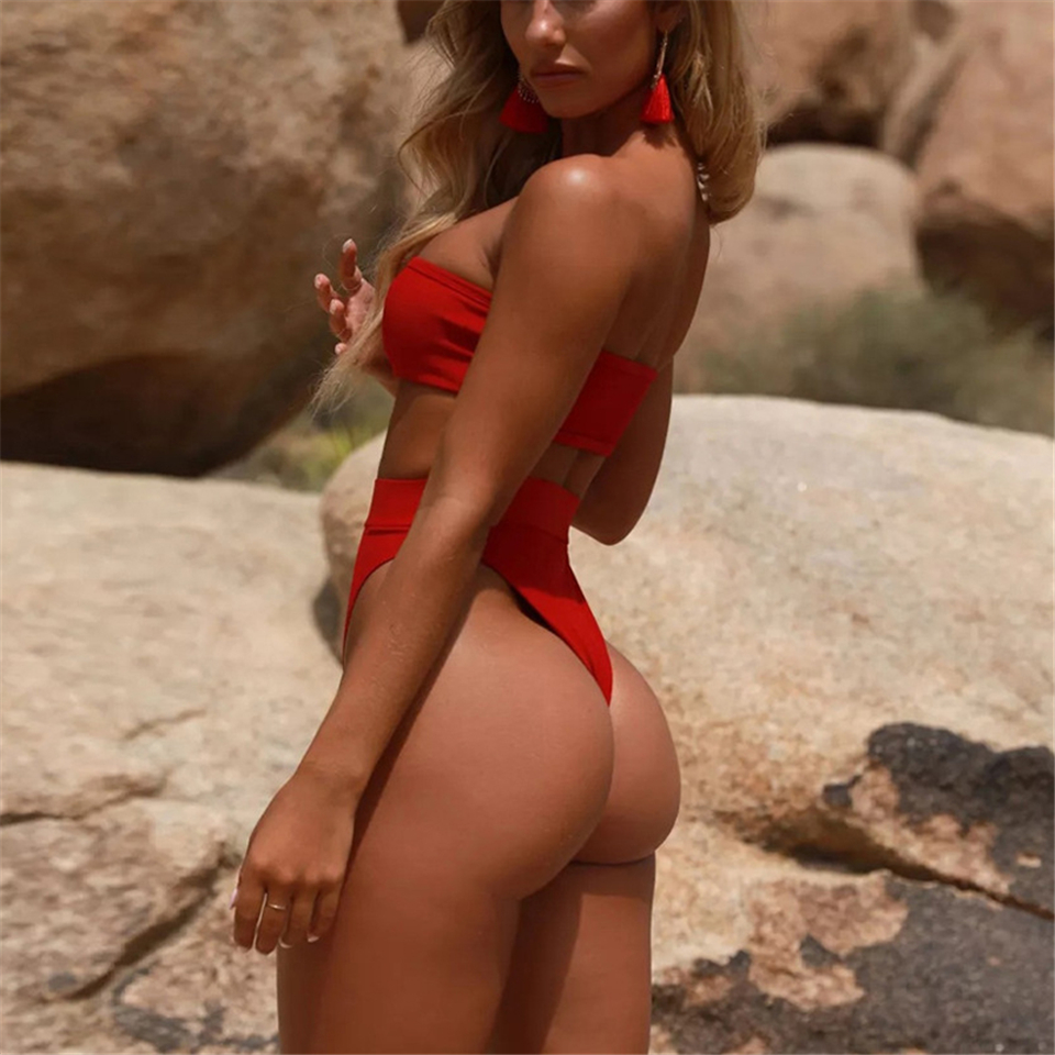 HTB1.F7uawaH3KVjSZFpq6zhKpXaJ 2019 Retro Sexy Solid Bandeau High Waist Seamless Cut Biquini Swim Bathing Suit Swimsuit Swimwear Women Brazilian Bikini