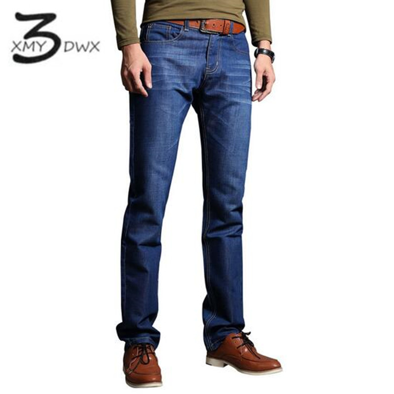 XMY3DWX N ew Blue Jeans Men Straight Denim Jeans Trousers Plus Size 28-38 High Quality Cotton Brand Male leisure Jean pants envmenst 2017 male floral bottom blue hole ankle length jeans men s jeans casual zipper straight denim trousers size 28 40