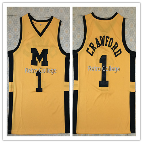 78129b401  1 Jamal Crawford Michigan Wolverines College Throwback Basketball Jersey  Stitched Customize any number and name all size