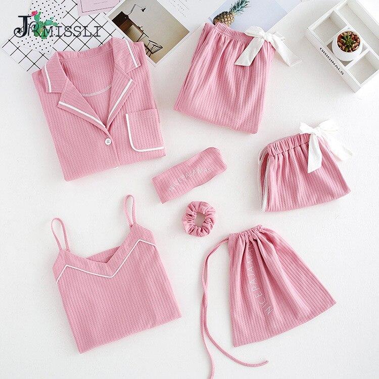 JRMISSLI 7 Piece Female 100 Cotton Pajamas Set Solid Long Sleeved Pants Women Nightgown Sleepwear