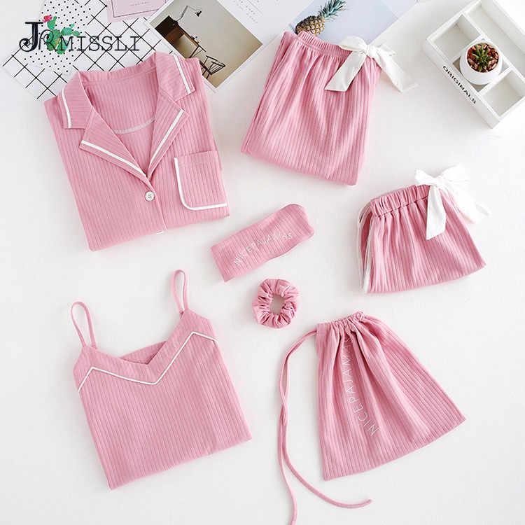 JRMISSLI 7 шт. женский пижамный комплект из 100% хлопка с длинными рукавами и штанами женская ночная рубашка