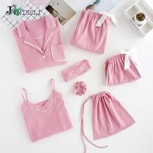JRMISSLI 7 Piece Female 100% Cotton Pajamas Set Solid Long Sleeved Pants Women Nightgown Sleepwear