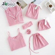 JRMISSLI 7 Stuk Vrouwelijke 100% Katoenen Pyjama Set Solid Lange Mouwen Broek Vrouwen Nachtjapon Nachtkleding