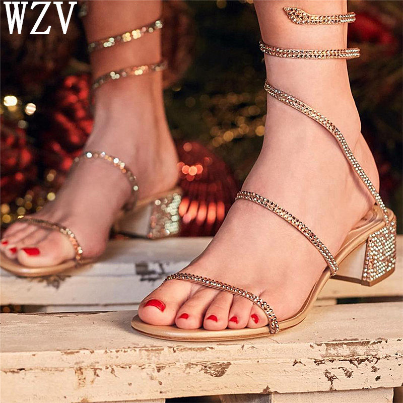 2019 Summer Crystal Gladiator Sandals Women Open Toe Square Heels Sandals Women Fashion Party Dress Snake Strap Shoes Woman H44