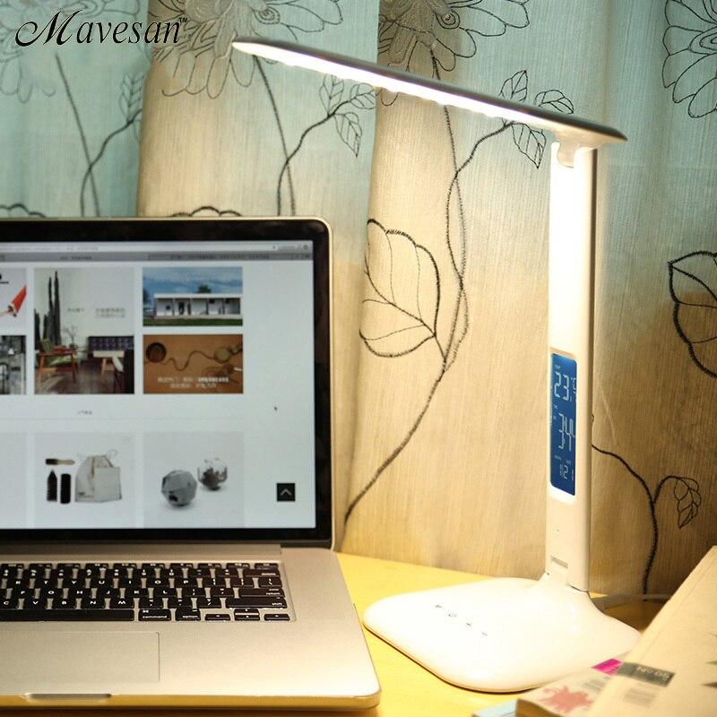 Lampe de Table pliante 4 W LED avec lumière de Protection des yeux d'enfant lampe de bureau pour étude Portable ED lumière avec calendrier alarme Colck