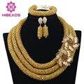 2017 Hot Nigeriano Beads Colar Handmade Braid Beads Africanos Conjunto de Jóias de Ouro Laço Nupcial Jóias Define Frete Grátis ABF360