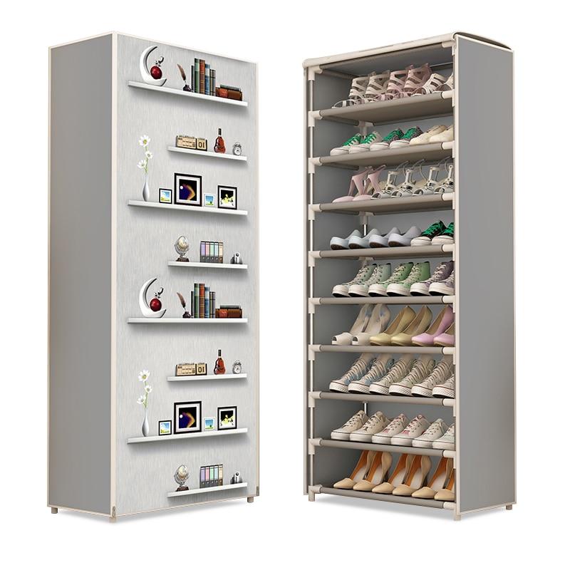 Simple Shoe Rack Easy To Assemble Non-woven 6 8 10 Layers Shoes Cabinet Zipper Closure Portable Space Saving Shoe Organizer