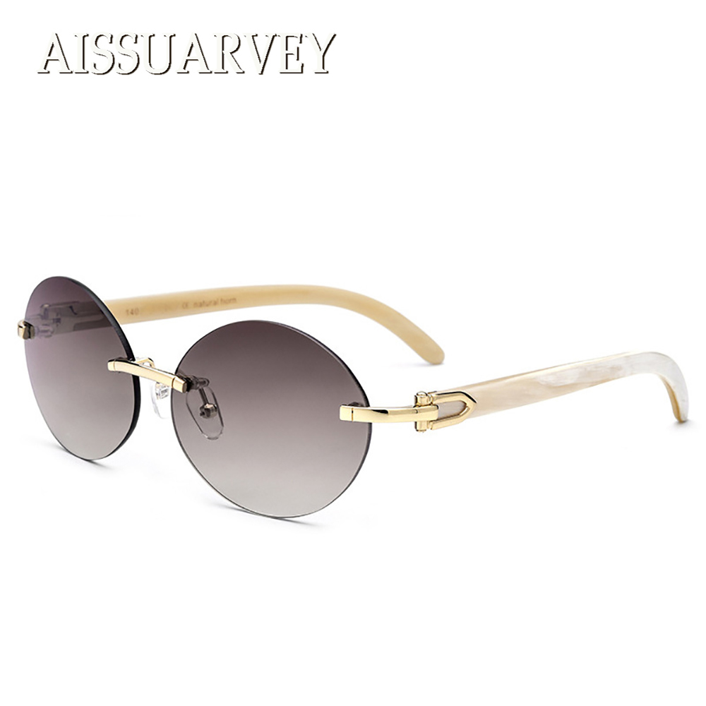 2018 High Quality Round Vintage Retro Polarized Sunglasses for Women Man Fashion Brand Designer Luxury Rimless Horn Sun Glasses hot fashion retro women vintage round sunglasses 2015 summer women brand design wood sun glasses z6011