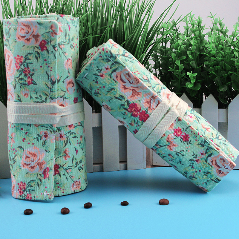 Kawaii Cute Rose Flower Pencil Case Canvas 36/48/72 Holes Roll School Penal Pencilcase for Girls Boys Pen Bag Stationery Pouch cute canvas roll school pencil case maple leaf 36 48 72 holes penal pencilcase for girls boys large pen bag stationery pouch box