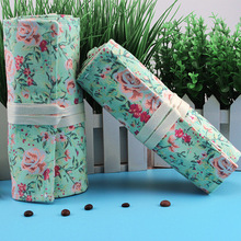 Kawaii Cute Rose Flower Pencil Case Canvas 36/48/72 Holes Roll School Penal Pencilcase for Girls Boys Pen Bag Stationery Pouch