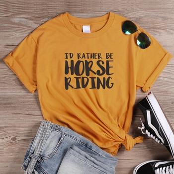 ONSEME Harajuku Tops prefiero montar a caballo carta impresión T camisa Streetwear lema T camisas básicos camisetas de algodón