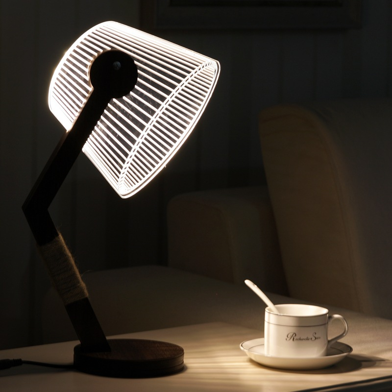 3D LED Dimmable Bedroom Table Reading Wood Lamp Night Light Warm White USB/Plug connector Creative 3D Night light desk lamp 2015new 3 mode touch dimmable warm white 8 led desk lamp charging atmosphere night light for bar coffee house bronze coloured