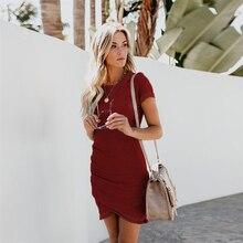 Summer Short Sleeve Solid Dress