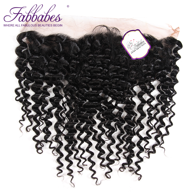 Fabbabes Deep Wave Lace Frontal Closure Remy Brazilian Human Hair with Baby Hair 130% Density Pre plucked Hairline