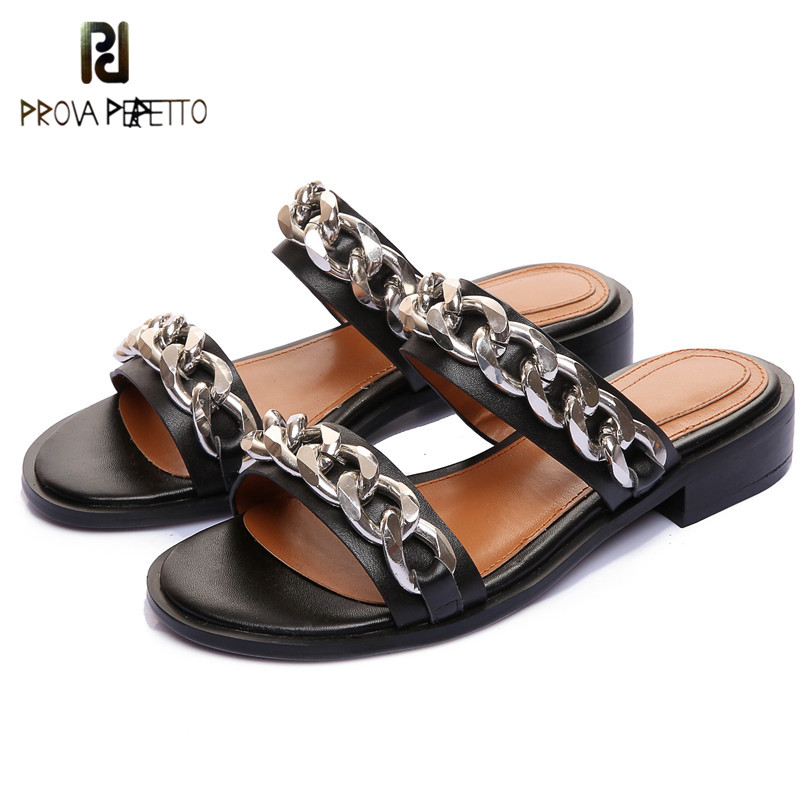 Prova Perfetto 2018 Women Flat Slippers With Metal Chain Shoes Flat Slippers Two Strap Slides Genuine Leather Summer Flip FlopsProva Perfetto 2018 Women Flat Slippers With Metal Chain Shoes Flat Slippers Two Strap Slides Genuine Leather Summer Flip Flops