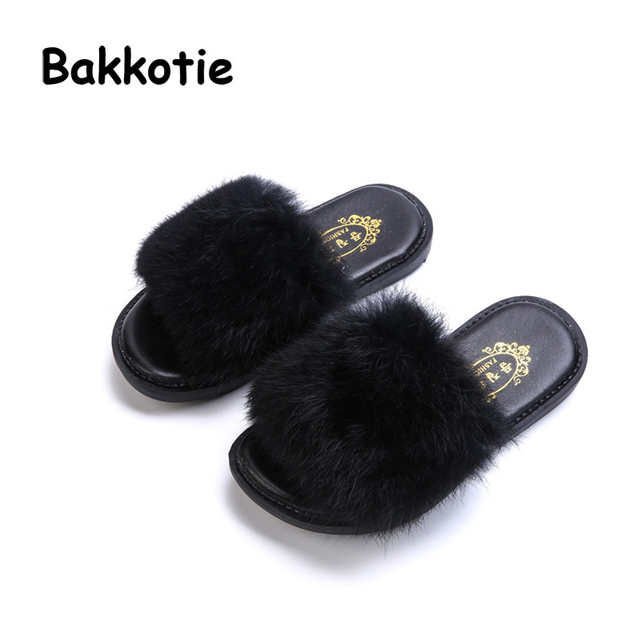 Bakkotie 2018 New Spring Children Fashion New Plush Mules Baby Girl Furry  Slipper Toddler Casual Red Slip On Indoor Shoe Kid 52f8f4964f84
