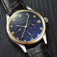 YAZOLE New Brand Luxury Waterproof Quartz Watch Men 3 Eyes Six Pointers Rose Gold Leather Multifunctional