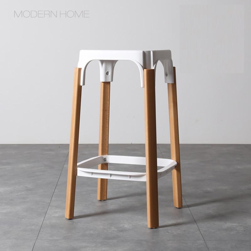 €182.65 |68 cm altura del asiento réplica diseño moderno Steelwood Bar  taburete pierna de madera sólida Metal Base de acero Bar silla de cocina ...