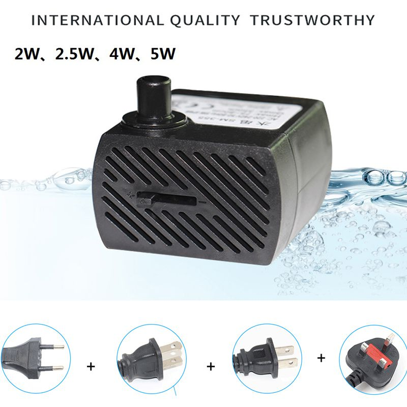Mini AC 220V 2W/2.5W/4W/5W Submersible <font><b>Water</b></font> <font><b>Pump</b></font> Aquarium Fountain Air Fish Tank Pond <font><b>Water</b></font> <font><b>Pump</b></font> EU Plug 220v/US Plug <font><b>110v</b></font> image