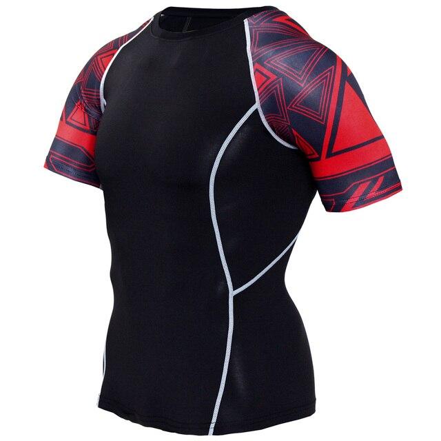 New Compression Shirt Splicing Sleeve Fitness Men Wolf Skull Anime 3D T Shirt MMA Short Sleeve Crossfit Bodybuilding Tee Shirt