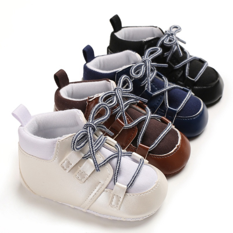 Autumn Baby Boy Cross Strap Retro Anti-Slip Casual Walking Shoes Patchwork Design Sneakers Soft Soled First Walkers