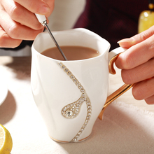 Elegant Eco-Friendly Rhinestone Porcelain Coffee Mug
