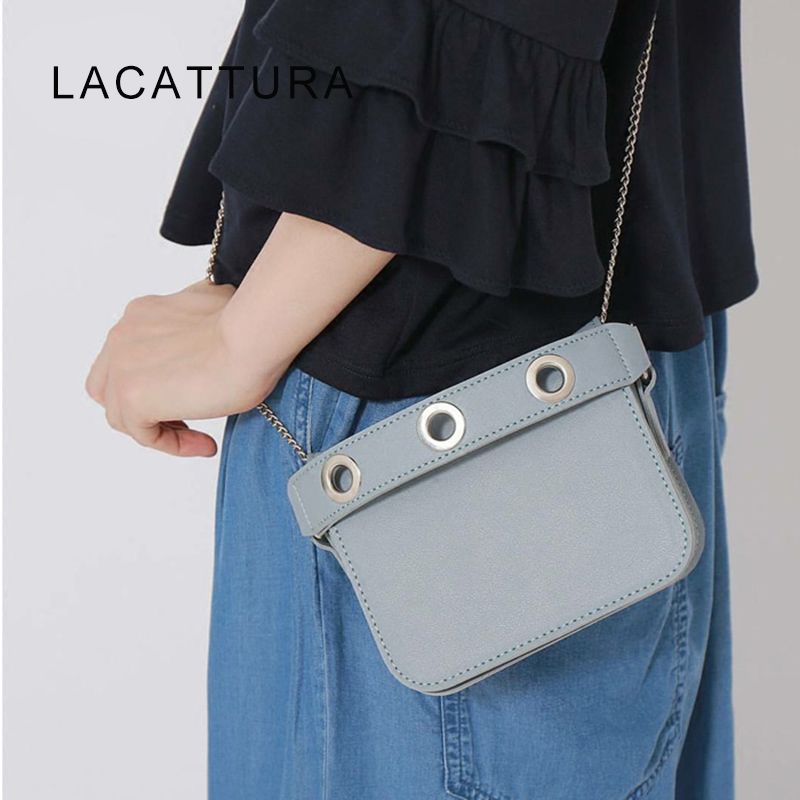 LACATTURA 2017 New Arrival Show Type Famous Brand Design bag Women Small Chain Flap Genuine Cowskin Leather Causual Handbag