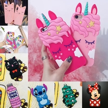 3D Cartoon Soft Silicone Christmas Case For iPhone 5S 5 6 6S 7 8 Plus X Cover Minnie Judy Rabbit Cat Tiger Stitch Unicorn Animal