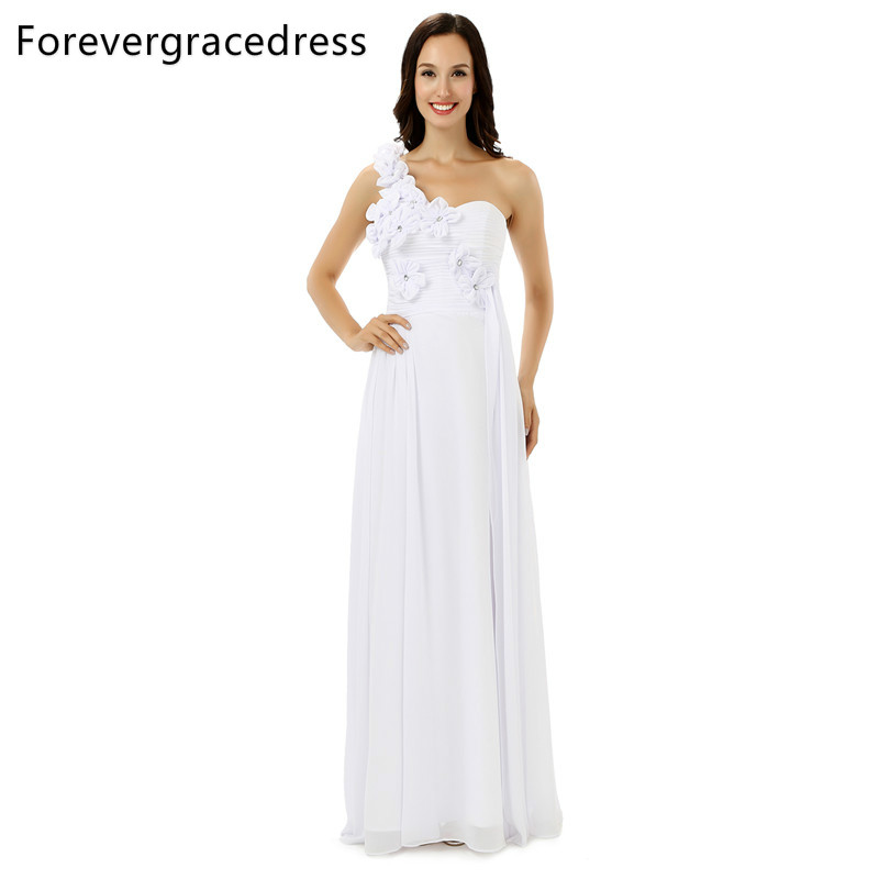 Forevergracedress Real Pics White Bridesmaid Dress One Shoulder Chiffon Long With Lace Up Back Wedding Party Gown Plus Size