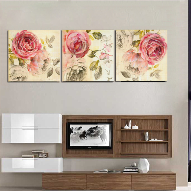 living room canvas art. 3 Piece Classical Canvas Art Rose Painting Floral Oil Paintings  Emejing Living Room Gallery Home Design Ideas