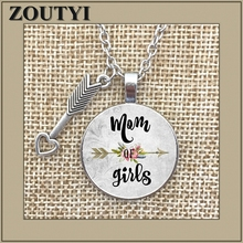 2018/ new girl's mother charm alloy glass pendant necklace, mother wears necklace jewelry, gift for mother woman mother