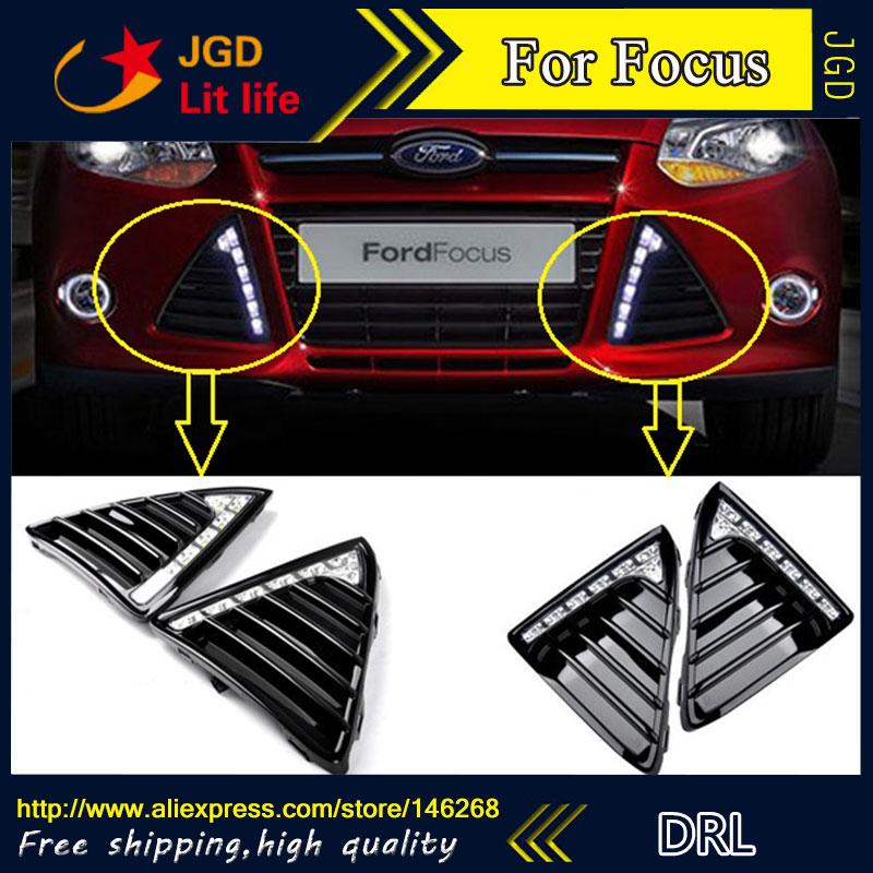 все цены на Free shipping ! 12V 6000k LED DRL Daytime running light for Ford Focus 2012 fog lamp frame Fog light онлайн