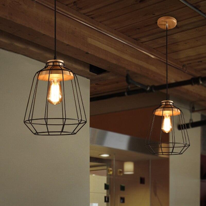 ФОТО Retro Loft Lustre Pendant Lights Vintage Industrial Cage Pendant Lamps Bar Hanging Light Fixture pendente de teto luminaire