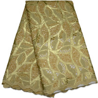 Latest African Sequins Tulle Lace High Quality African Cord Lace For Nigerian Wedding Dress Gold Color
